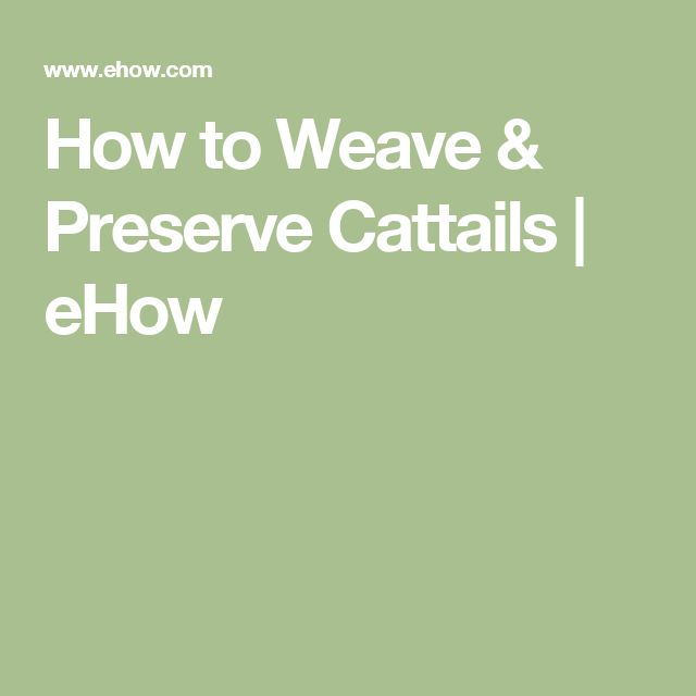 How To Weave A Cattail Basket : How to weave preserve cattails
