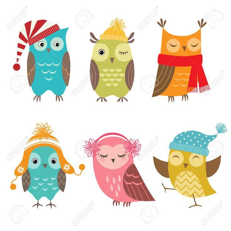 Набор смешных сов для зимнего дизайна. Клипарты, векторы, и Набор Иллюстраций Без Оплаты Отчислений. Image 31399726.