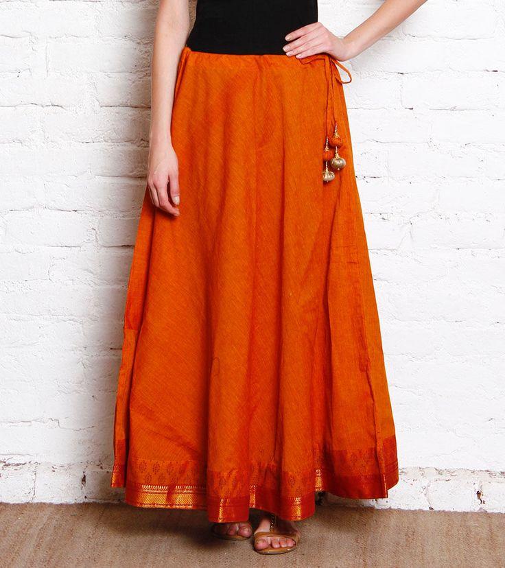 Rust Hand Block Printed South Cotton Border Skirt