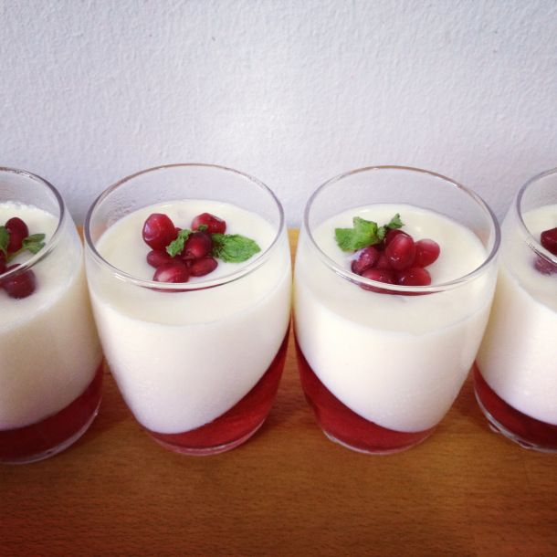 Lychee pomegranate Lychee panna cotta: 1 large can (565g) lychees in syrup 3/8 cup (90 ml) milk 3/8 cup (90 ml) cream 3 tbsp (30g) sugar 1 1/2 sheets gelatin panacottaPomegranate jelly: 100 ml pomegranate juice 1 sheet gelatin 1 pomegranate