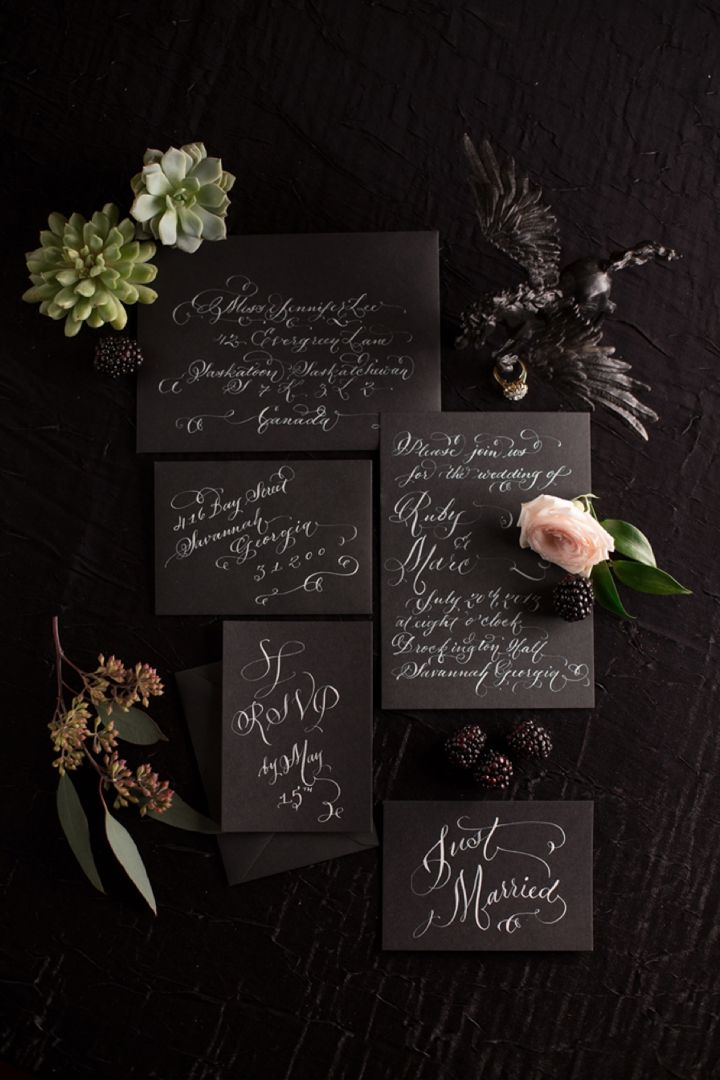 Gorgeous black and white calligraphy invitations by Laura Lavender // photo by Shannon Christopher, via http://theeverylastdetail.com/bold-dramatic-blush-black-wedding-ideas/
