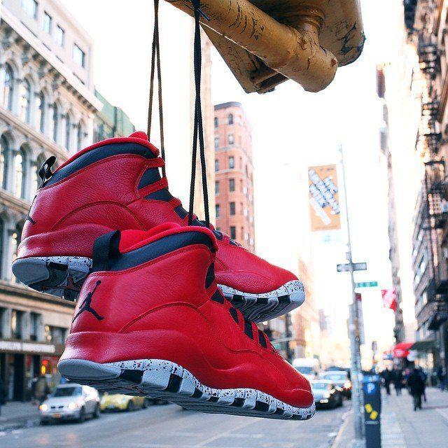 Air Jordan 10 Retro Bulls Over Broadway #Leather, #Red, #Retro, #Sneakers