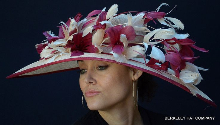 Feather Flower Wide Brim Kentucky Derby Dress Hat