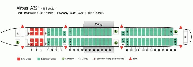 AIR CHINA AIRLINES AIRBUS A321 AIRCRAFT SEATING CHART