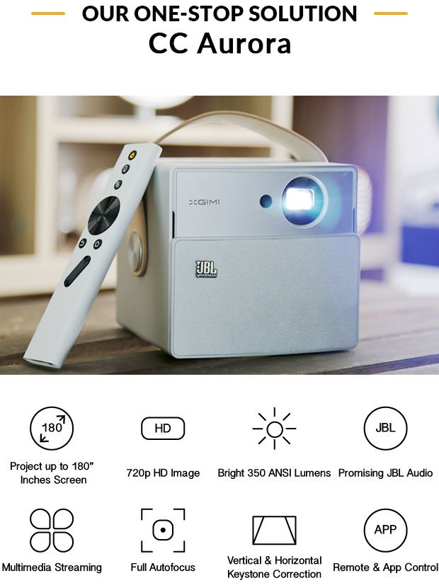 "Portable Android wireless projector with 180"" 720p HD image. Bring the big screen wherever you go​ 