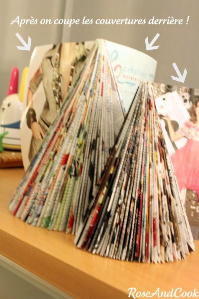 sapin de no l avec des magazines diy d co pas ch re et colo rose cook arbres arbres de. Black Bedroom Furniture Sets. Home Design Ideas