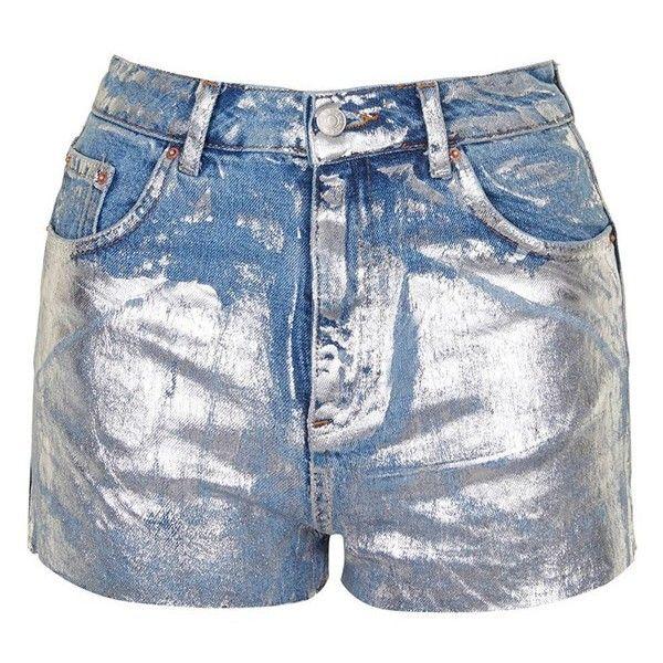 Women's Topshop Moto Metallic Paint Cutoff Mom Shorts (38 CAD) ❤ liked on Polyvore featuring shorts, cut-off shorts, cutoff shorts, metallic shorts and topshop shorts