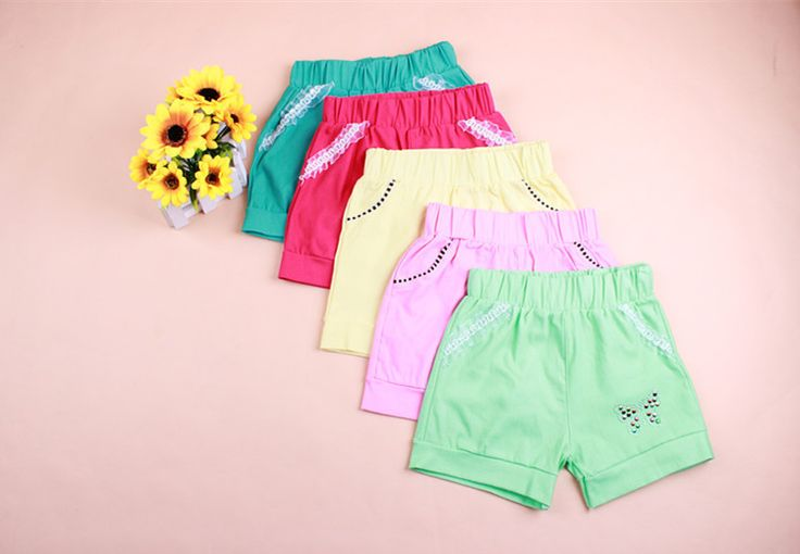 New Arrive Kids Girls Candy Color Cute Shorts Trousers Lace Pocket Demin Short Pants For 2-7Y Free Shipping € 2,09