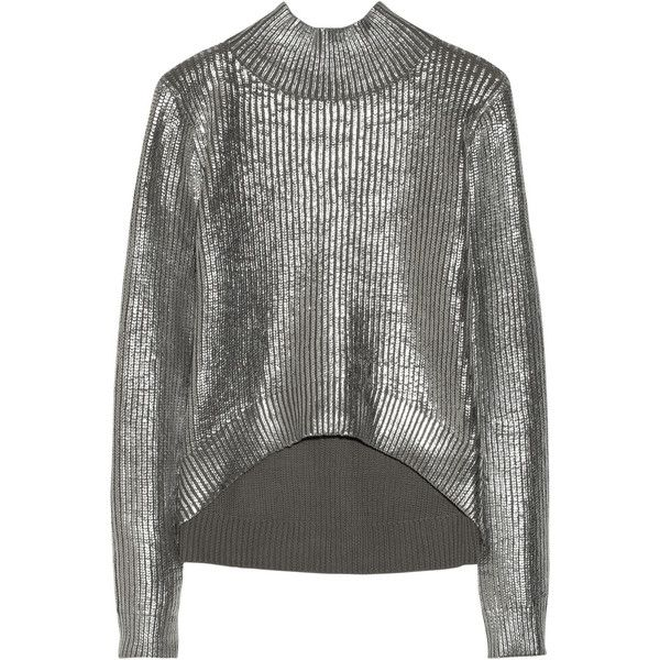 Sass & bide Nobody's Joker foil-print cotton turtleneck sweater (2.971.010 IDR) ❤ liked on Polyvore featuring tops, sweaters, silver, jumper, sass & bide, knitwear, medium knit, grey sweater, gray turtleneck and turtle neck sweater