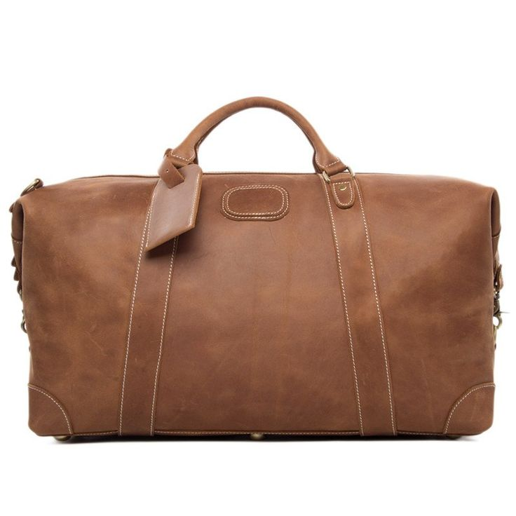 """An amazing vintage leather duffle bag made of top quality genuine leather, in a beautiful retro light brown for perfect looks and style. Interior includes separate compartments for a 17"""" laptop, cell phone, wallet and everything you might need as you take this luxurious bag on your journeys."""