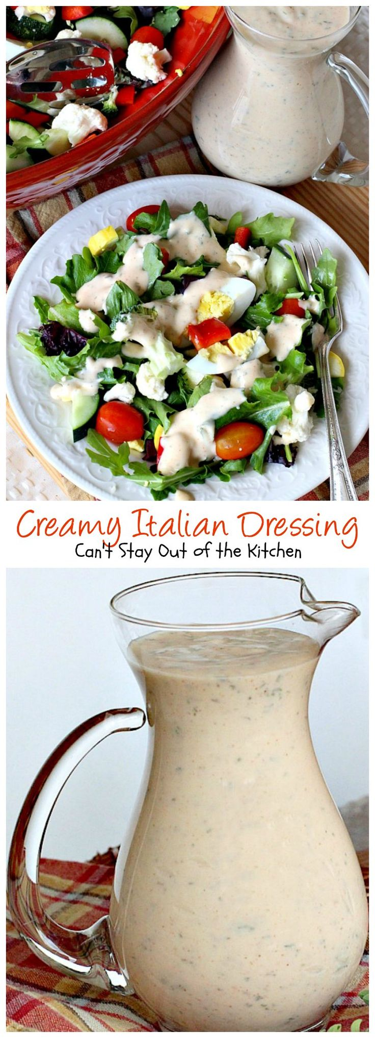 Creamy Italian Dressing   Can't Stay Out of the Kitchen   this is one of the BEST #saladdressings I've ever eaten. It is absolutely delicious, and so quick and easy to make. #salad #glutenfree