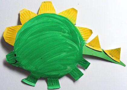 paper plate stegosaurus dinosaur