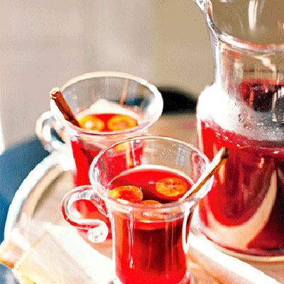 Pomegranate-apple cocktail. Can be served hot or cold, with or without alcohol. Perfect for the holidays! | Fruity Drinks with Alcohol Recipes - Delish.com