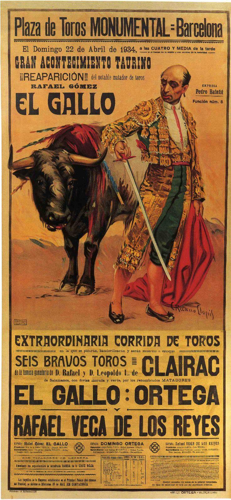 Carteles antiguos de toros: Plaza de Toros la Monumental 22 de abril de 1934
