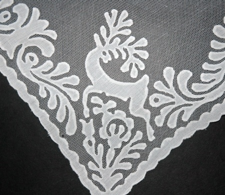 Fine White Cutwork Hungarian Buszak Applique on Net Lace Mesh Ground