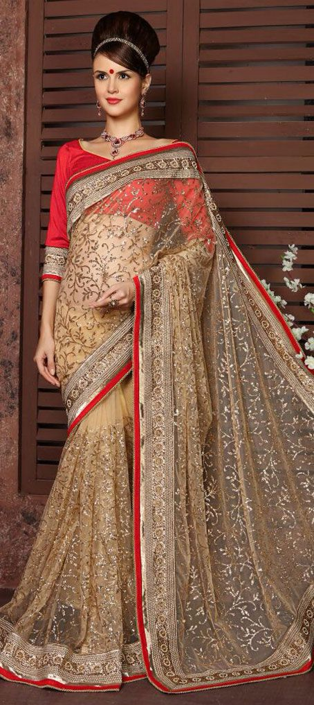190881: Beige and Brown color family Bridal Wedding Sarees with matching unstitched blouse.