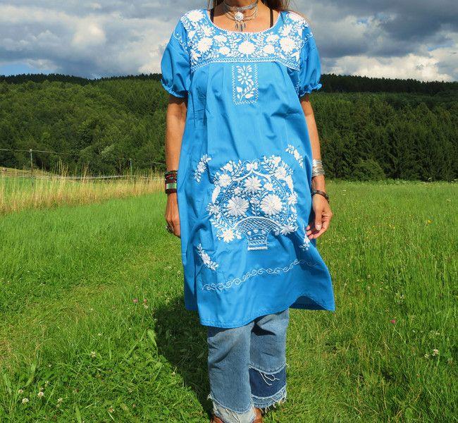 Minikleider - L *TWO TONES* Hippie  Blumen Kleid bestickt Boho - ein Designerstück von santa-fee bei DaWanda