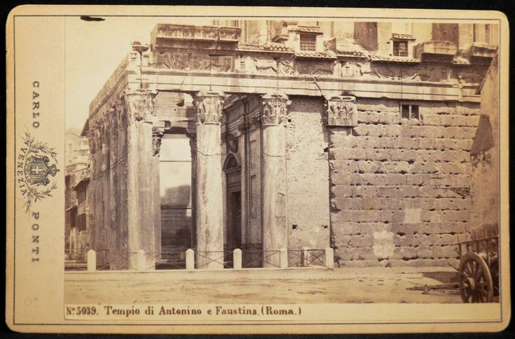 Cabinet Photo Temple of Antoninus and Faustina Rome Italy by Carlo Ponti 1870s   eBay