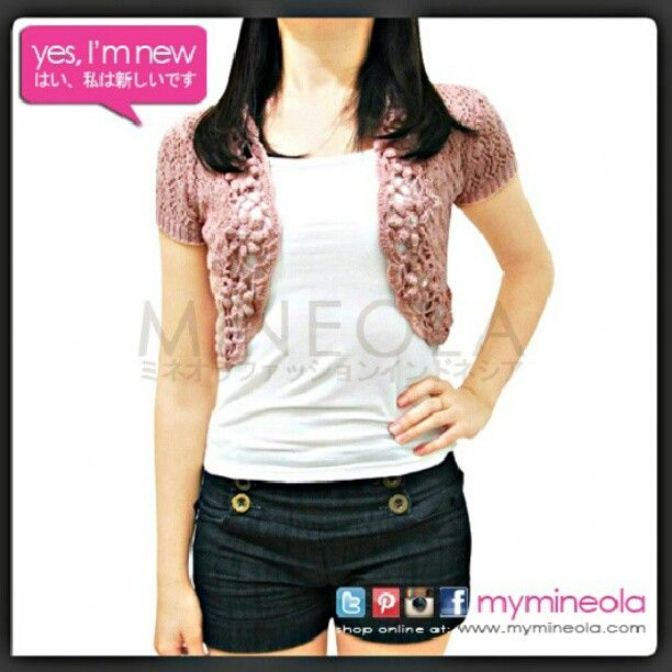 MINEOLA Pink Fleur Knit Bolero. Also avail in broken white and black. Only Rp.198.000,-