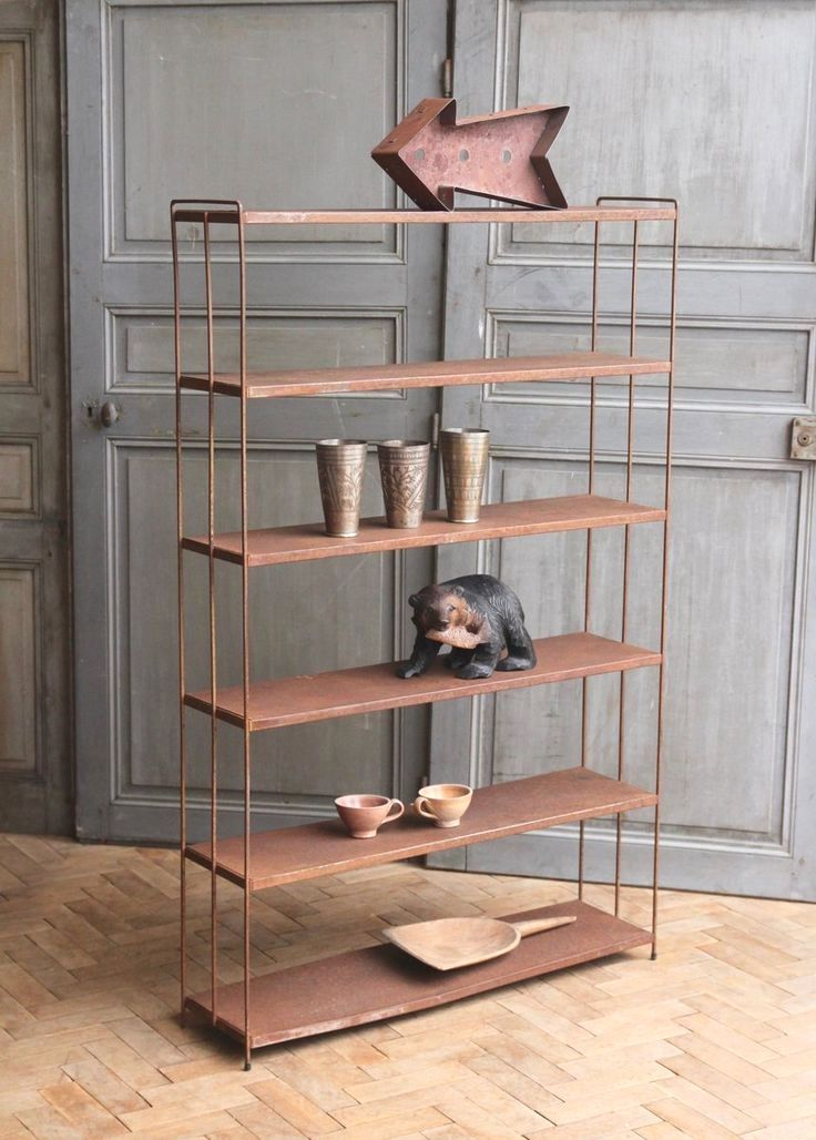Industrial Metal Shelving Unit With Thin Deco Style Steel Frame It Has Just Been Buffed And Waxed In G Industrial Metal Shelving Shelves Metal Shelving Units