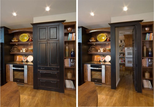 Rustic hidden butlers pantry traditional kitchen
