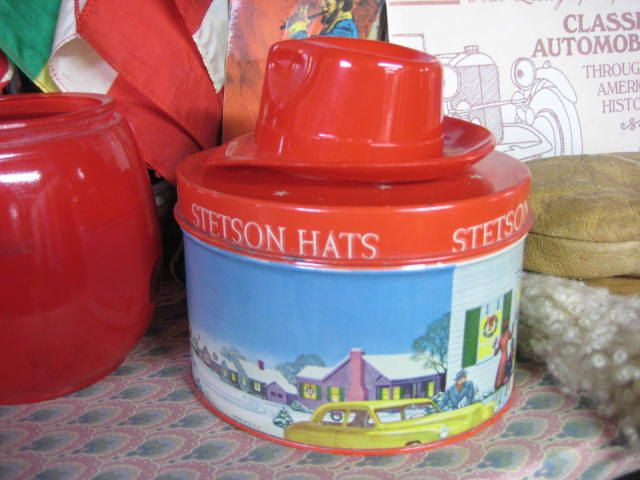 Stetson Hat Salesman Sample, 1950's Salesman Sample,Vintage Christmas Tin, Red Stetson Hat Tin, Vintage Salesman Sample for Stetson Hats by neetiques on Etsy