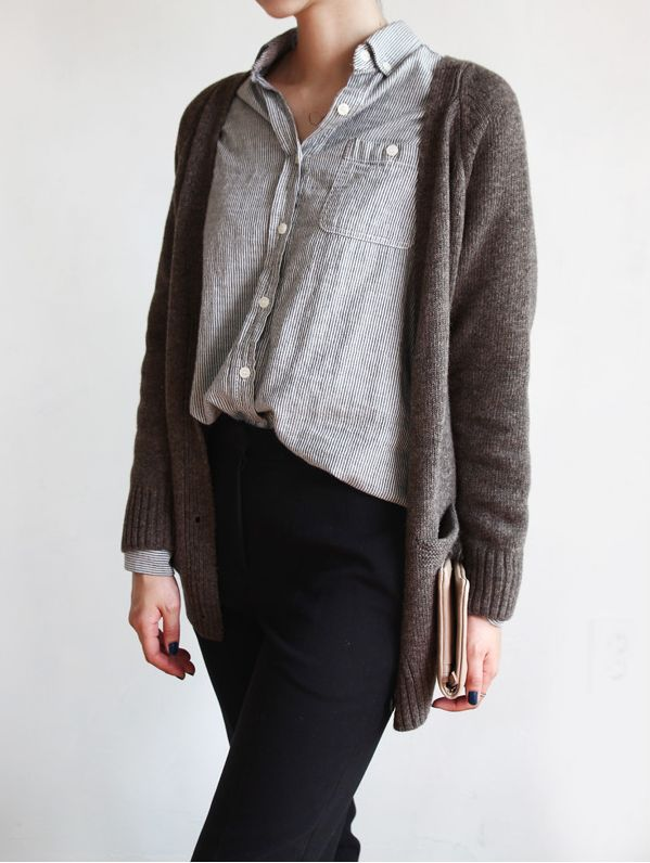 button down blouse with slim stripes, black pants and a maxi cardigan in an interesting shade of brown