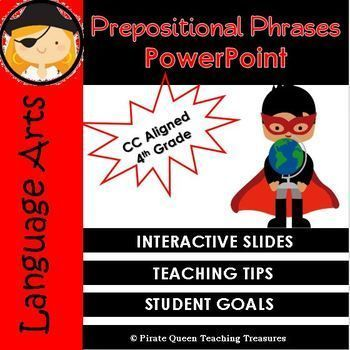 This product is designed to help you teach prepositional phrases and their function in a text. The PowerPoint defines what a preposition and prepositional phrase are and explains their function in a sentence. It teaches how to recognize and form a preposi