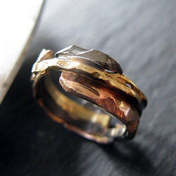 eb57d1e5ba6e2 Distressed Wedding Ring 4-8mm 14K Rose Gold White Gold 14K 18K ...