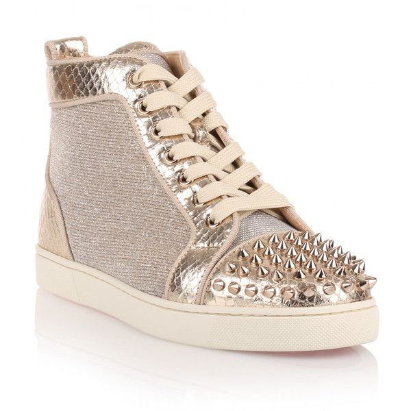 Christian Louboutin Lou Spikes Gold Glitter Sneaker ($695) ❤ liked on Polyvore featuring shoes, sneakers, gold, gold high tops, spike shoes, spiked sneakers, glitter high tops and high top trainers