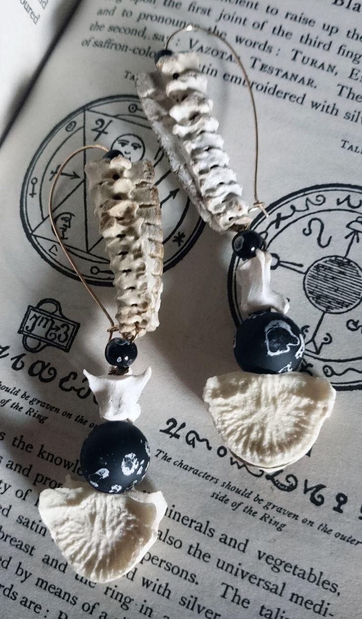 Real bone ear hoop pendant earrings