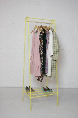 Yellow Steel Metal Mid-Century Clothes Rack Coat Stand Vintage Industrial | eBay