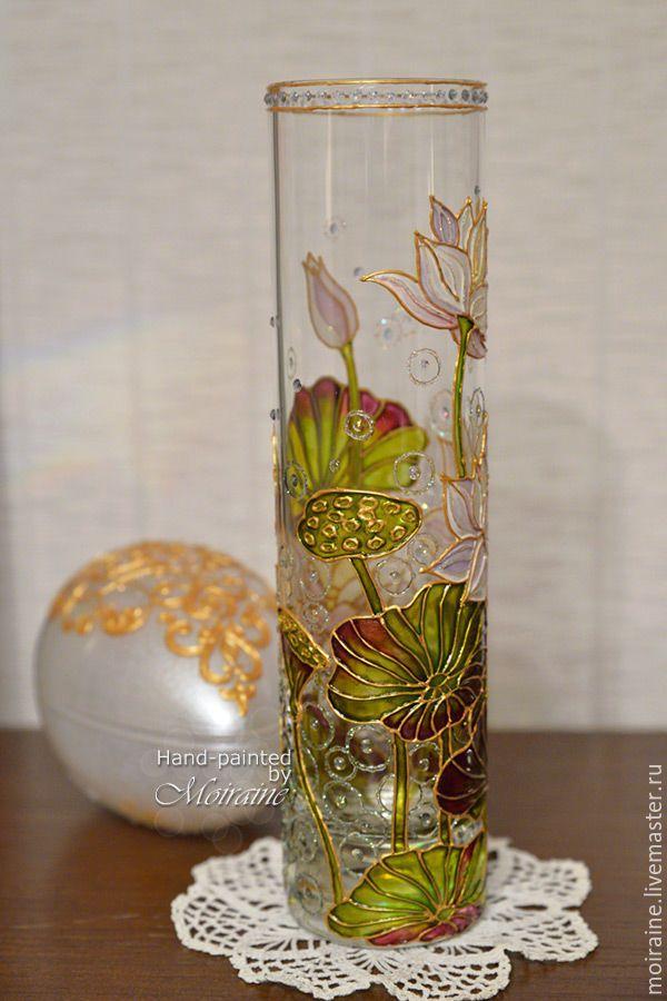 """Купить Стеклянная ваза """"Белый лотос"""". Витражная роспись - стеклянная ваза, ваза стекло"""
