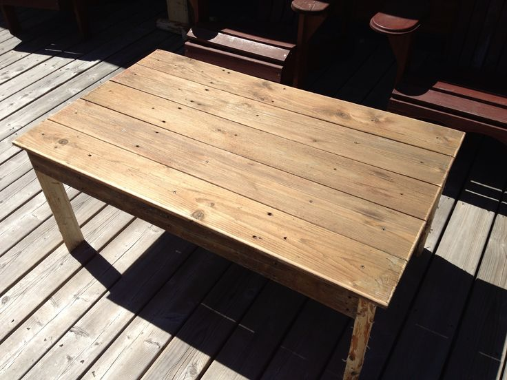 Coffee table made from old fence boards