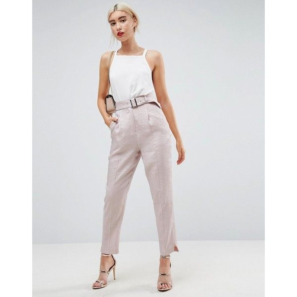 ASOS Belted Trouser In Pastel Sheen (€47) ❤ liked on Polyvore featuring pants, pink, tapered leg pants, high waisted trousers, high-waisted pants, pastel pants and asos pants