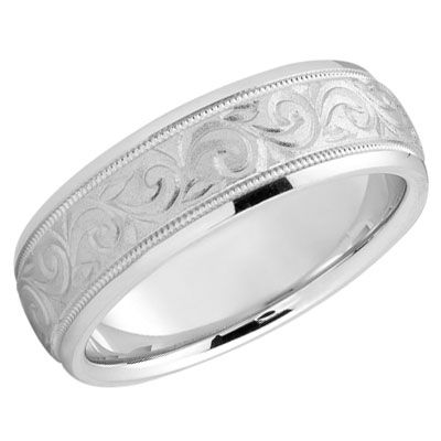 ApplesofGold.com - Sterling Silver Paisley Wedding Band Ring, size 10 - sale 99.00