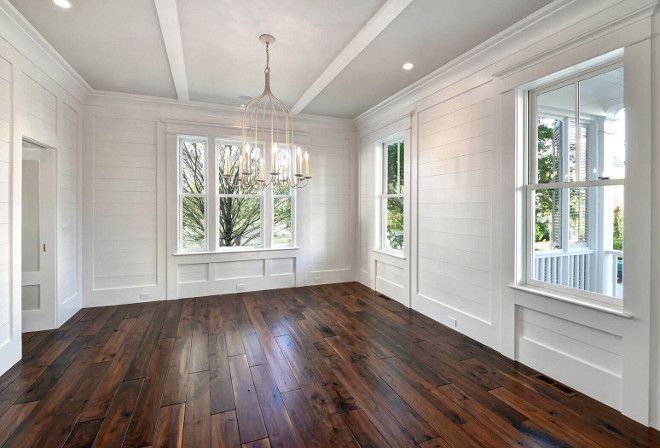 white best apartment and house designs ideas with wooden floor | White shiplap dining room walls painted in Sherwin ...