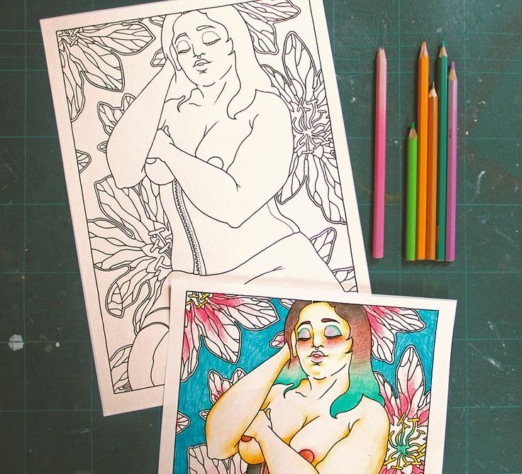 "Adults Coloring Book - ""Les Foufettes - Claudette"" - Body Positive Pin Up Colouring Page Printable by TigerlilyDesignStore on Etsy"