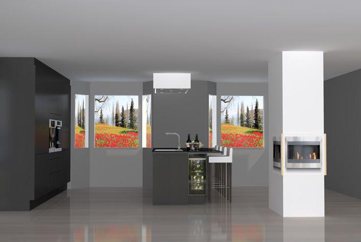 Kjøkken løsning med høyskap og øy. Frittstående peis midt i stue
