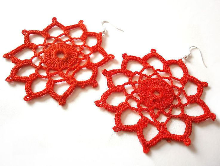 Handmade Unique Crochet Cotton Earrings - Hungarian Craft Products #Handmade #Unique #Crochet #Cotton #Earrings #eBay #Fashion #Jewelry #Earring