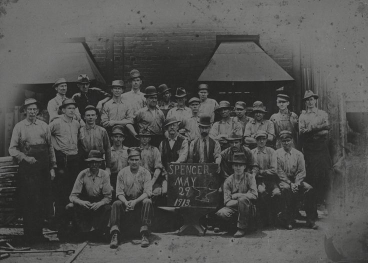 Blacksmiths and foundrymen worked in shops on the railroad to transform steel into parts for trains. Shaping a piece of steel into a part required a furnace to heat the steel and a steam-powered hammer to beat the steel into shape. The hammer hit the steel with thousands of pounds of force. Once these highly-skilled workers made a part, it went to the machine shop to be trimmed and finished. These blacksmiths worked in the Southern Railway shops at Spencer, NC. www.nscorp.com