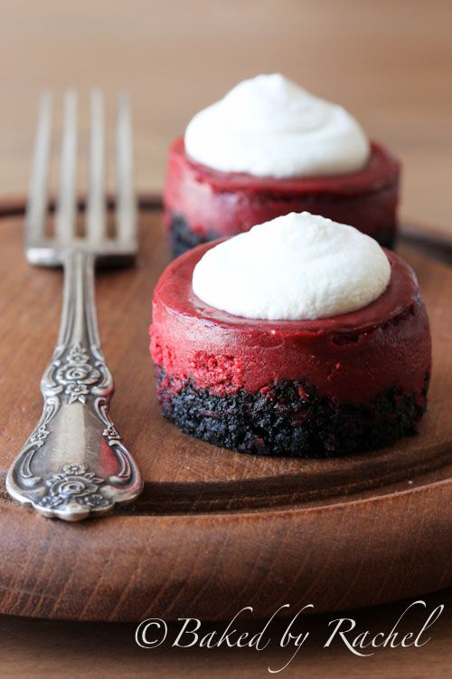 Mini Red Velvet Cheesecakes Recipe - bakedbyrachel.com