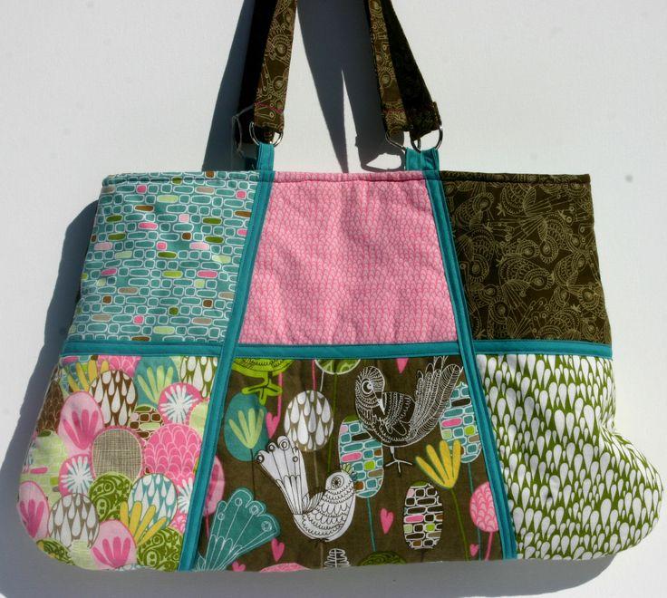 Combination of 6 coordinated cotton fabrics large handbag. 50 x 30 cm $ 60