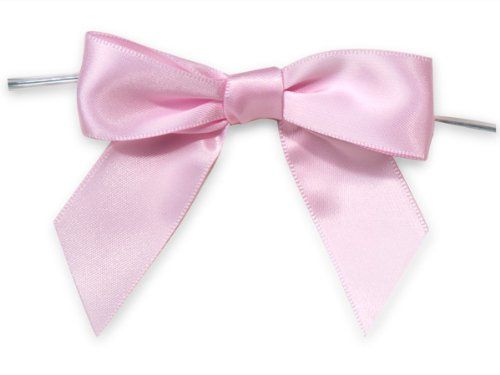 PINK 3' Pre-Tied Satin Bowswith 5' Twist Ties~ 7/8' ribbon 12 unit, 12 pack per unit. -- Check out this great product.