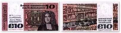 Swift as depicted on the Irish £10 banknote, issued 1976–1993