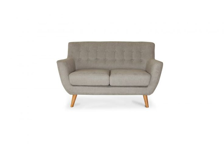 Buttoned 2-Seater SofaContemporary, Nordic-style double-seater loveseat in grey felt, with beech wood feet.Available in: light grey.See also: 3-seater option - Jimbo 3.Size: L*W*H: 134*83*83