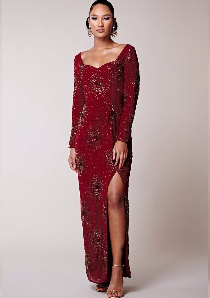 5e967921e0 Virgos Lounge Red Leonie Long Sleeved Occasion Wedding Maxi Party Dress 6 -  18 #VirgosLounge #MaxiDress #SpecialOccasion