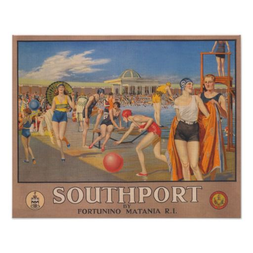 Southport, England; Pool; Vintage Travel Poster