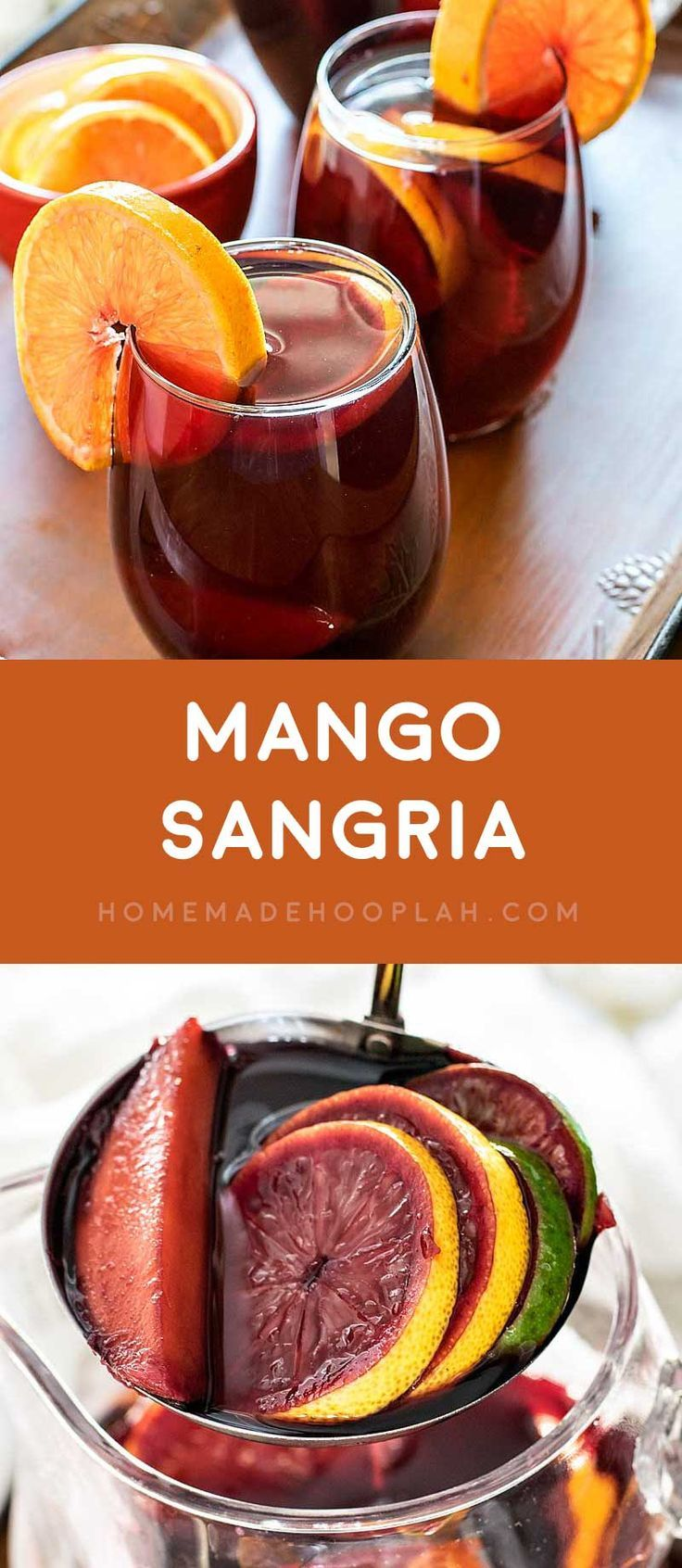 Mango Sangria! Delicious mango sangria with sweet red wine infused with mango, orange, lemon, and lime, then spiked with a surprise shot of orange cointreau. | HomemadeHooplah.com