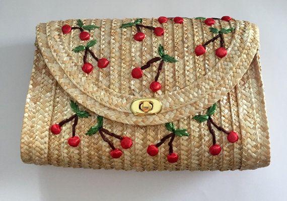 Cute Straw clutch with cherries raffia purse vintage 50s look
